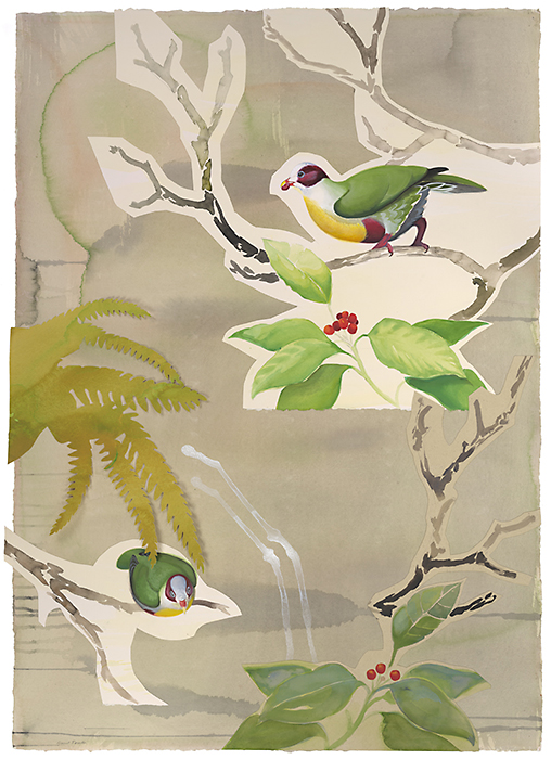 David Tomb. Yellow-breasted Fruit Doves, 2012. 42 x 30, Watercolor, gouache on paper