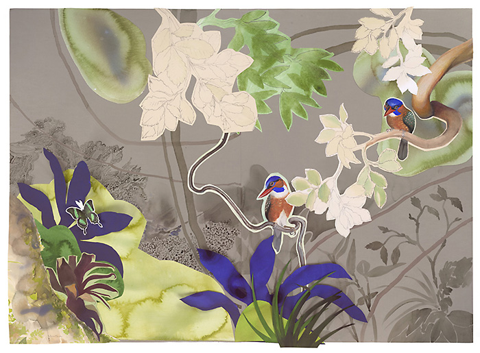 David Tomb.Blue-capped Kingfisher, 2012.40 x 55, Watercolor, gouache on paper