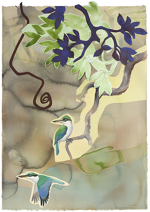 David Tomb.Collared Kingfisher, 2012. 42 x 30, Watercolor, gouache on paper