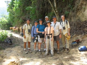 Left to Right, biologist/guide Jorge, bird enthusiasts Beth, Misty, Mike, Laurie, Mark (of Mark Pretti Nature Tours), yours truly.