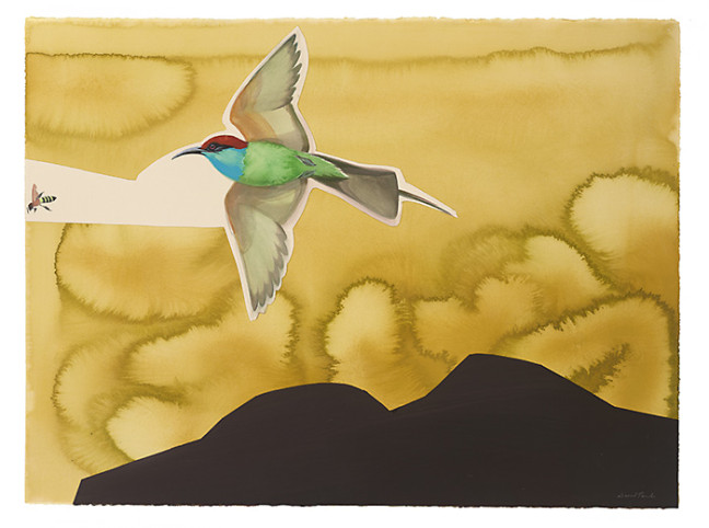 Blue Throated Bee Eater - 2012, 22x30, watercolor and gouache on paper