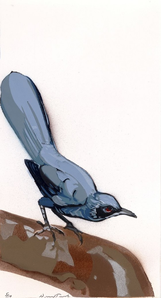 "Blue Mockingbird, 12.5"" x 6 3/4"", $750"