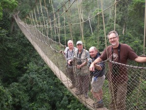 Kakum walkway companions - David with Brian Coleman, George Oxford Miller, and Douglas Nail