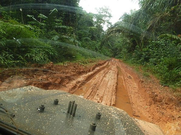 Driving into Kakum Conservation Area