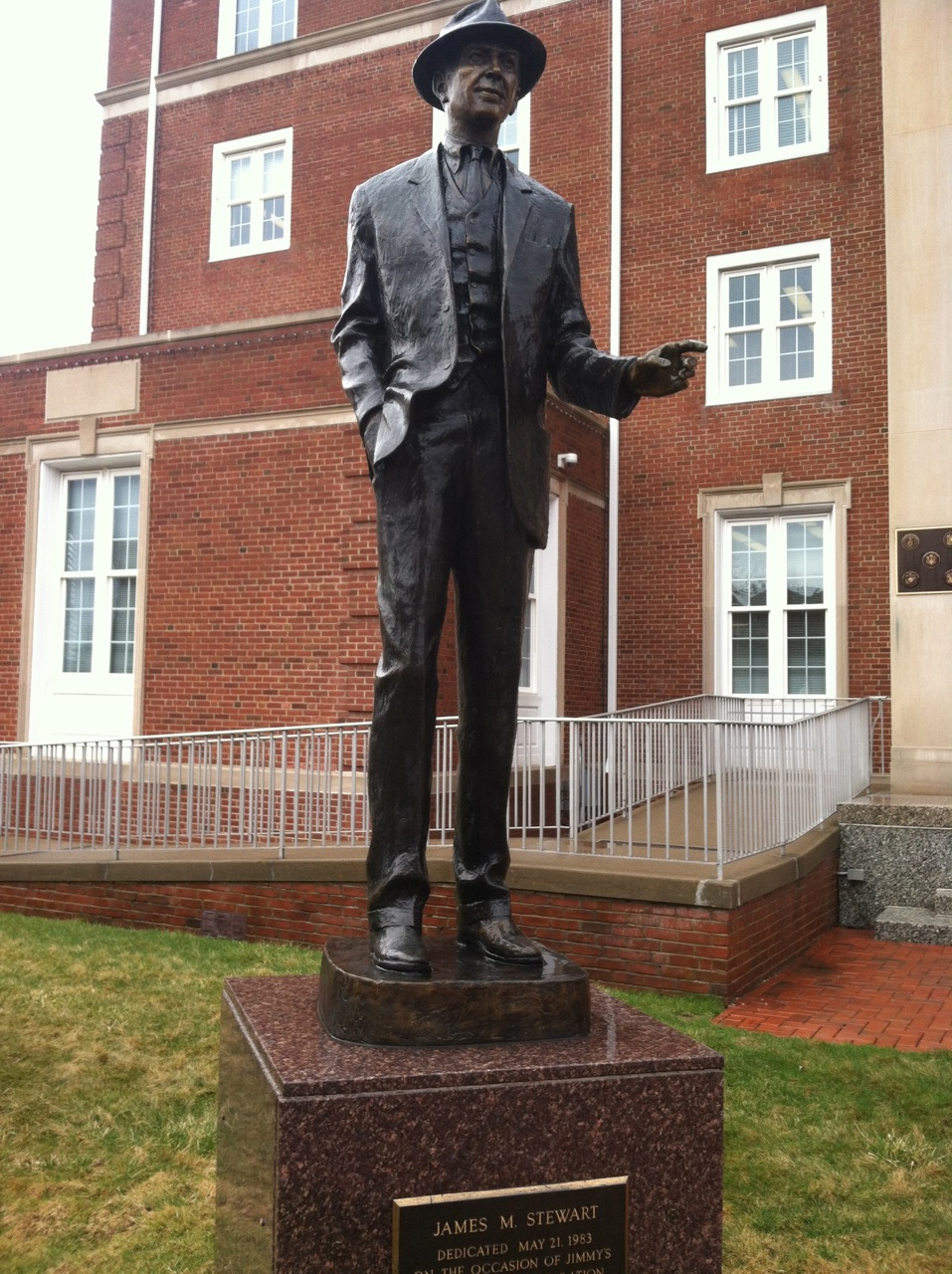 8Ten foot tall Jimmy Stewart presides over the courthouse on Philadelphia St., Indiana, PA. Personal Jimmy Stewart favorites - Philadelphia Story, Rear Window, Vertigo.